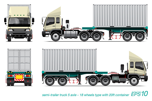 trailer truck with container