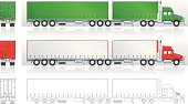 Twin straight deck trailer (canvas sided and line art) in vector with space for your own copies, logo, branding and ads. Colours can be change easily.