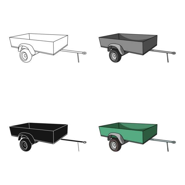 Trailer with sides for the car.Car single icon in cartoon style vector symbol stock illustration web. - illustrazione arte vettoriale
