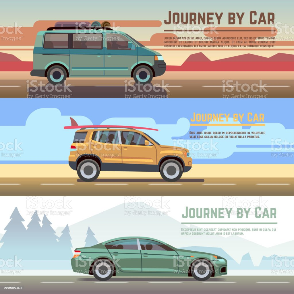 Trailering by car vector banners set vector art illustration