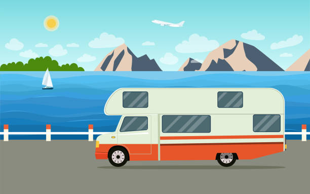 anhänger wohnwagen auf wochenendurlaub. sommer meer landschaft. flache vektor-illustration - wohnwagenanhänger stock-grafiken, -clipart, -cartoons und -symbole