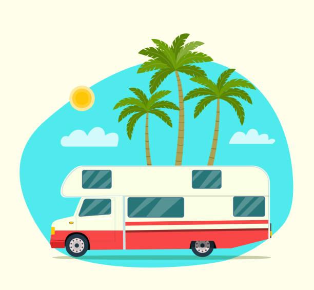 stockillustraties, clipart, cartoons en iconen met trailers caravan. zomer tropisch landschap. vector platte stijl illustratie - caravan