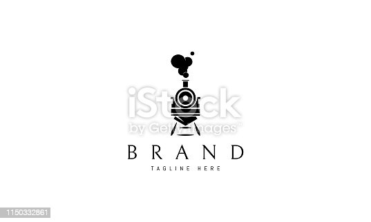 Train abstract black vector logo design image