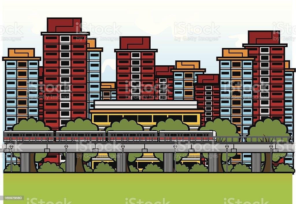 MRT train among HDB flats vector art illustration