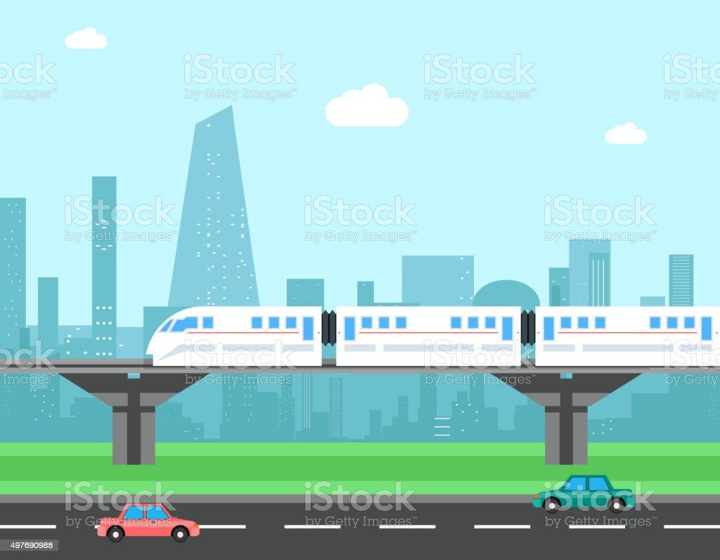 Train and cityscape. Transportation vector concept vector art illustration