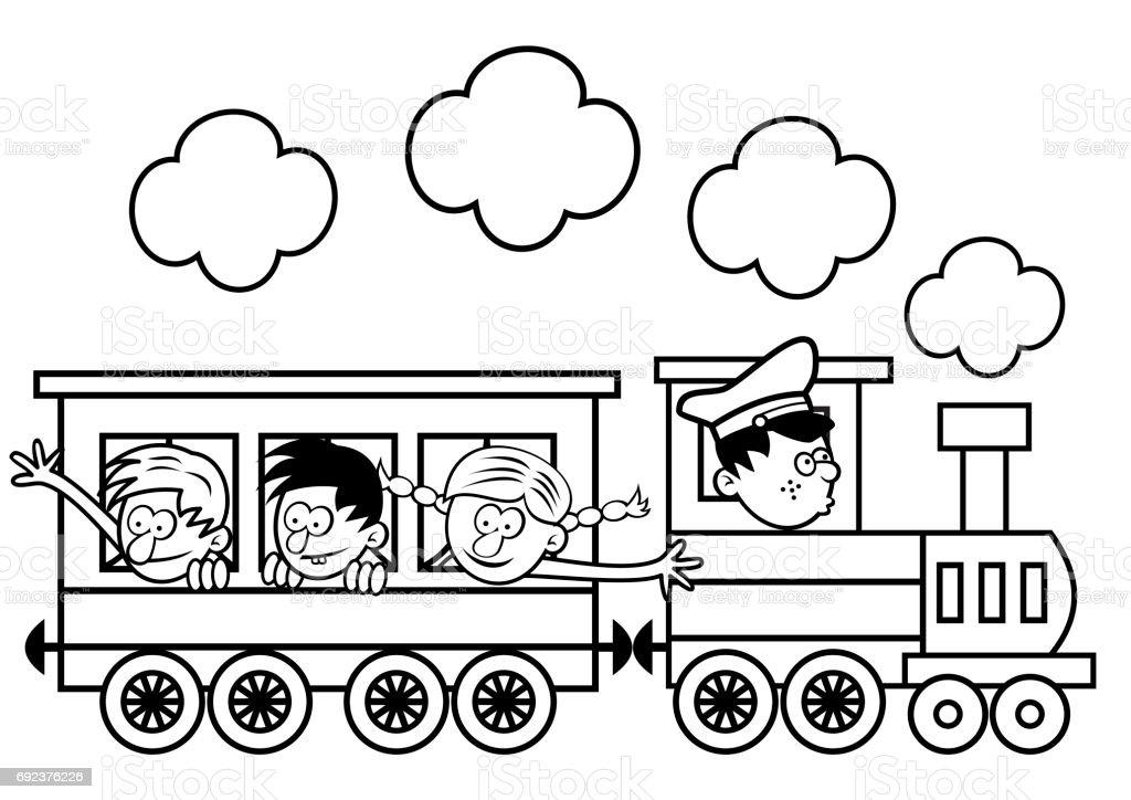 Vetores De Trem E Criancas Felizes Colorir Pagina E Mais Imagens