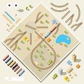 DIY train and rail set - birds eye view