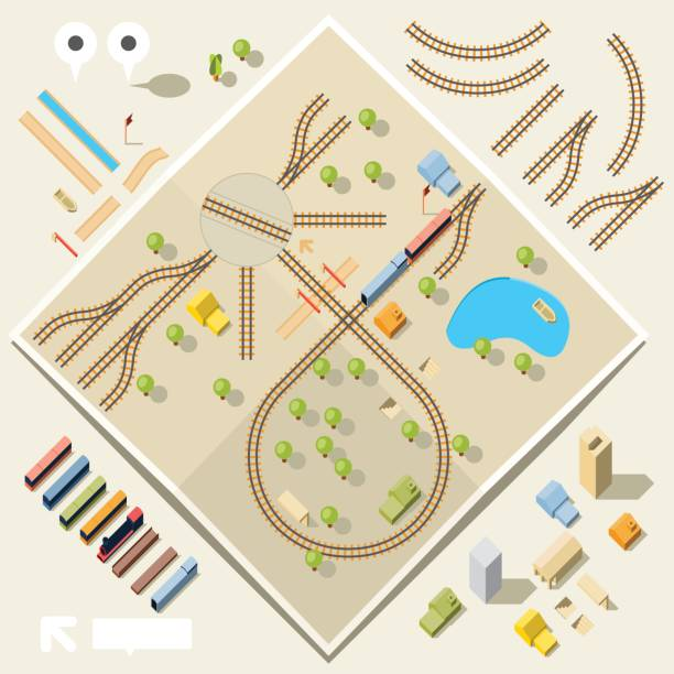 diy train and rail set - birds eye view - railroad track stock illustrations, clip art, cartoons, & icons