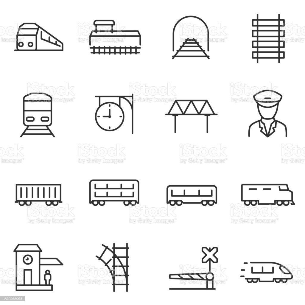 train and railways icon set.  Line with editable stroke vector art illustration