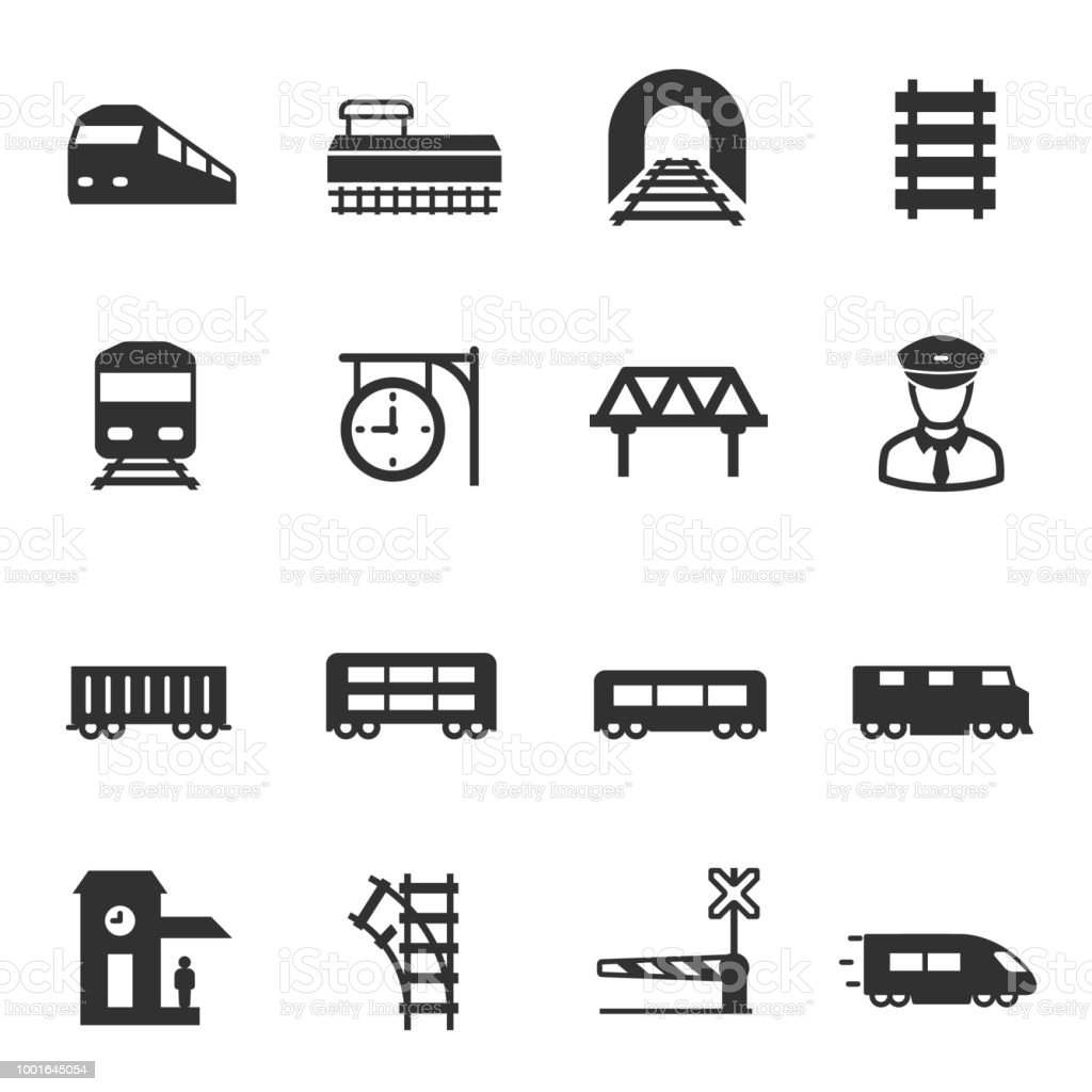 Zug und Eisenbahn, stellen Icons. Intercity, international, Güterzüge – Vektorgrafik
