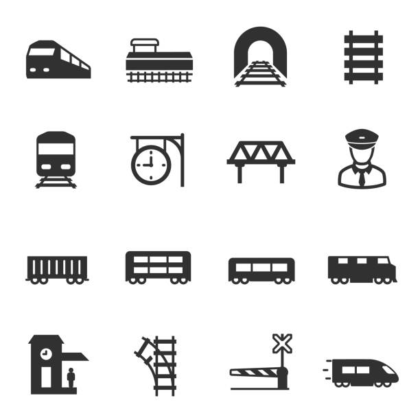 stockillustraties, clipart, cartoons en iconen met trein en spoorwegen, set pictogrammen. intercity, internationale goederentreinen - trein