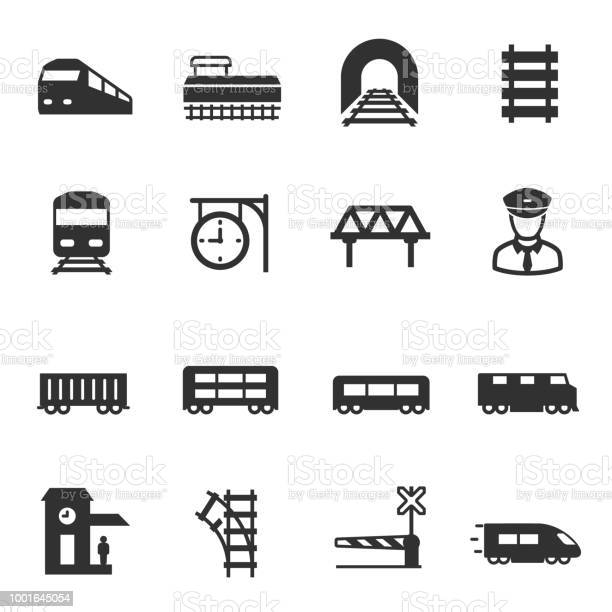 train and railways, monochrome icons set. intercity, international, freight trains, simple symbols collection