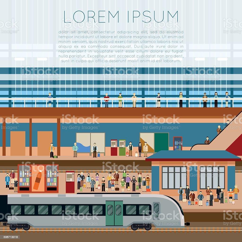 Train big station vector art illustration