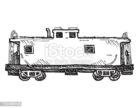 Old train caboose vector sketch.