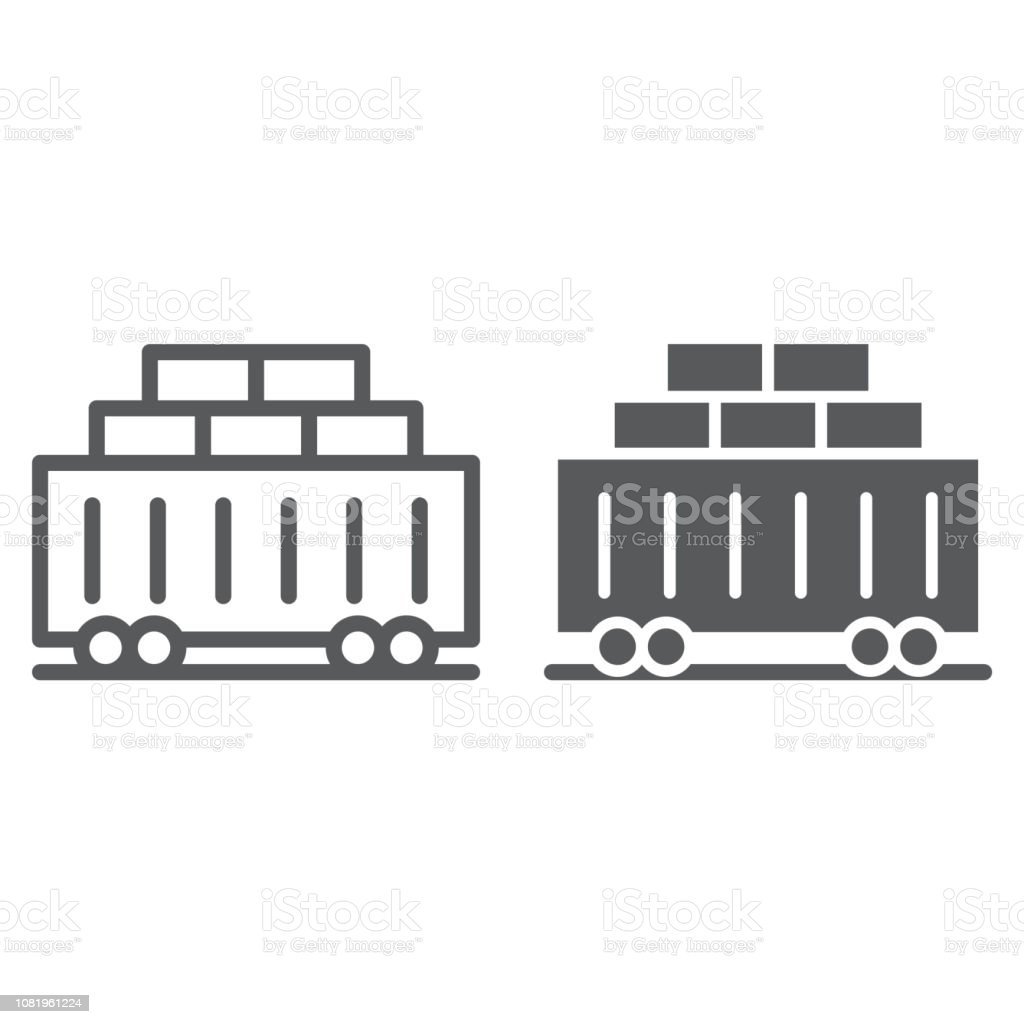 Train Cargo Line And Glyph Icon Transport And Logistics