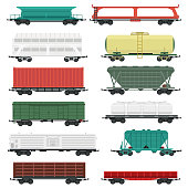 Train carriages vector set.