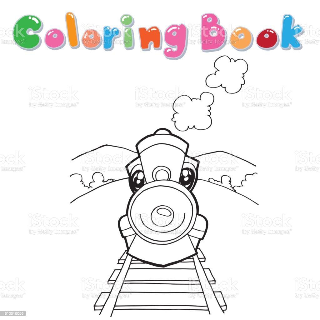 Karikatür Kitap Vektör Boyama Tren Stok Vektör Sanatı Animasyon