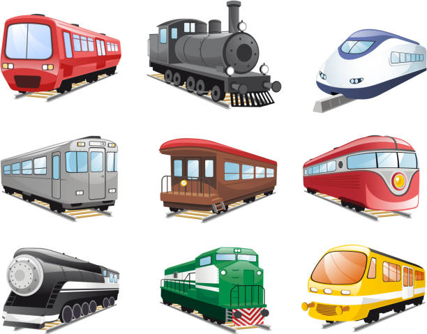stockillustraties, clipart, cartoons en iconen met train collection - trein