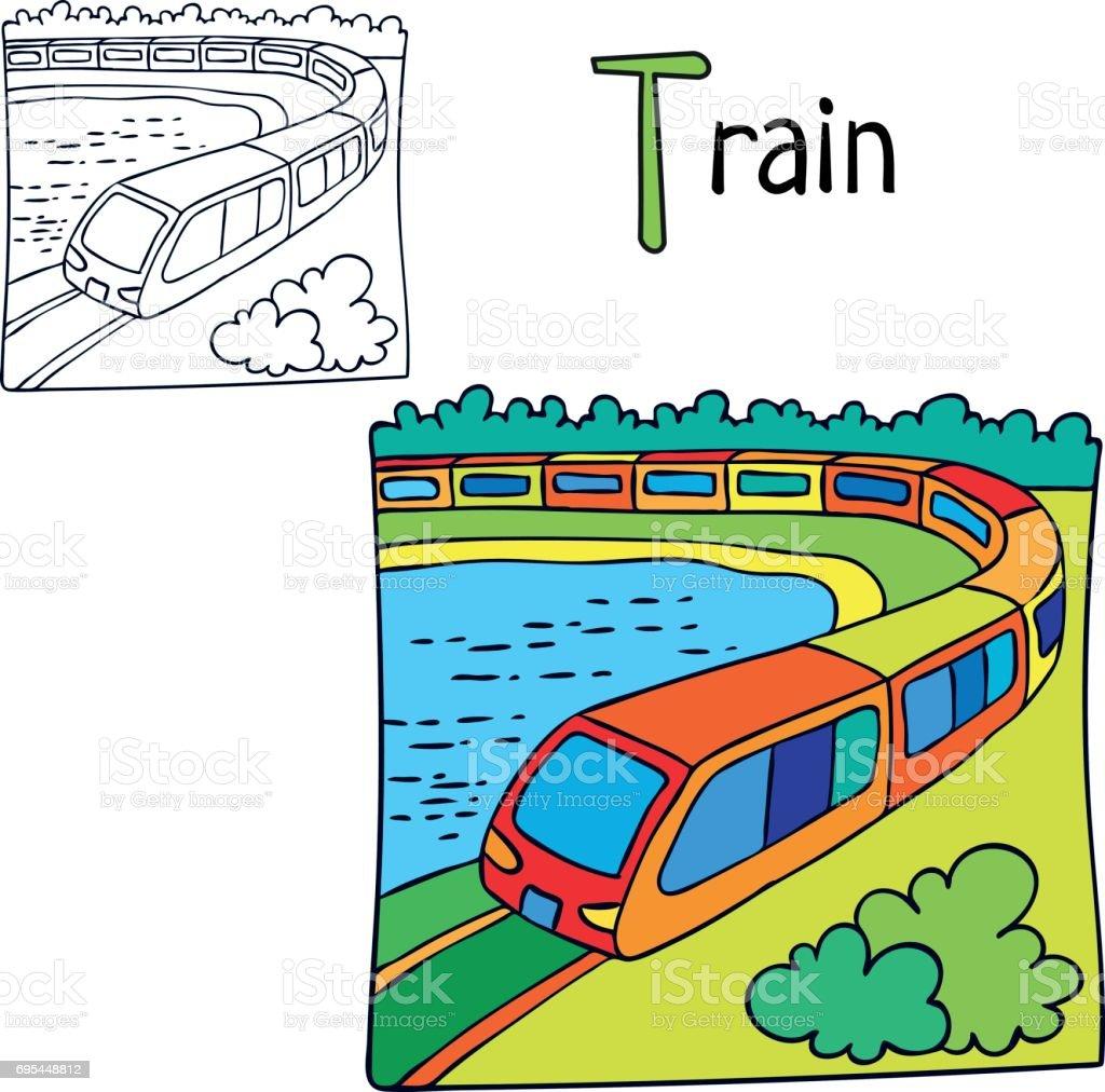 Zug Coloring Book Seite Cartoonvektorillustration Stock Vektor Art und mehr  Bilder von Ausmalen