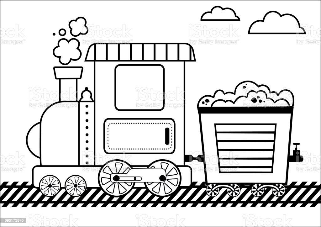 Tren Boyama Sayfasi Stok Vektor Sanati Anaokulu Nin Daha Fazla