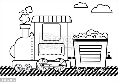Tren Boyama Sayfası Stok Vektör Sanatı Anaokulunin Daha Fazla