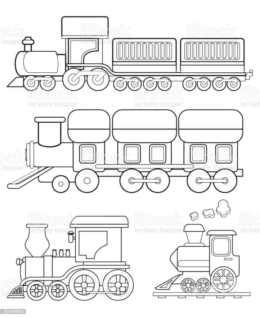 Ilustración de Tren Para Colorear Vector De Página y más banco de ...