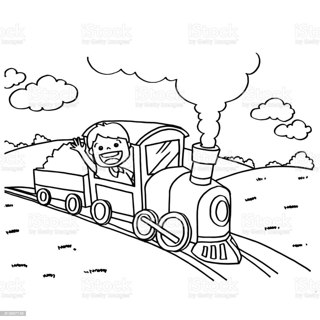 Tren Boyama Sayfalari Vektor Stok Vektor Sanati Animasyon