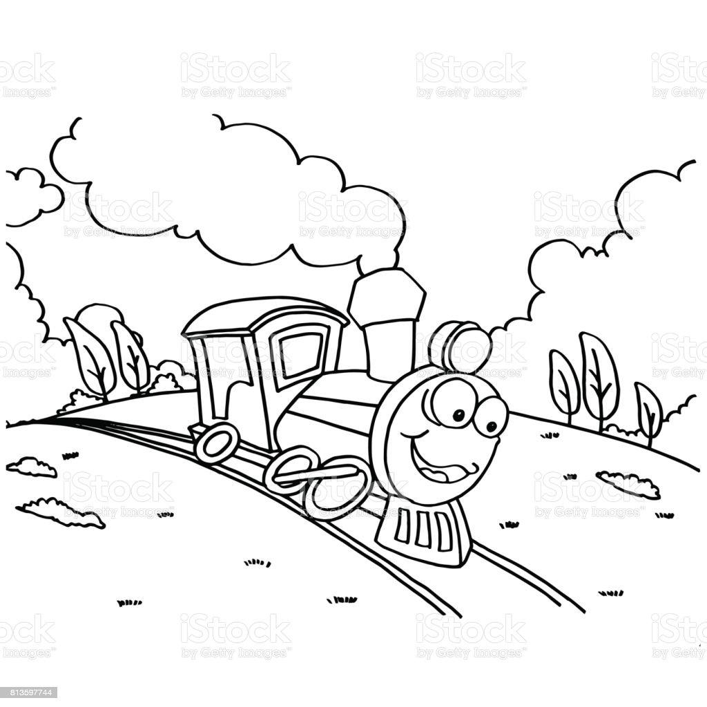 Ilustración De Imágenes Para Colorear De Tren Para Niños Vector Y Más Vectores Libres De Derechos De Agricultura