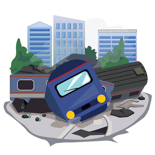 bildbanksillustrationer, clip art samt tecknat material och ikoner med train crash - derail