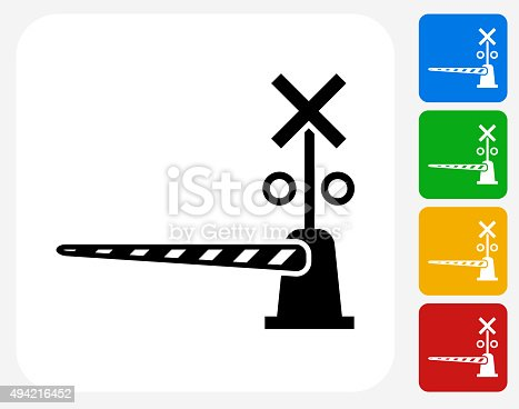 Train Crossing Icon. This 100% royalty free vector illustration features the main icon pictured in black inside a white square. The alternative color options in blue, green, yellow and red are on the right of the icon and are arranged in a vertical column.