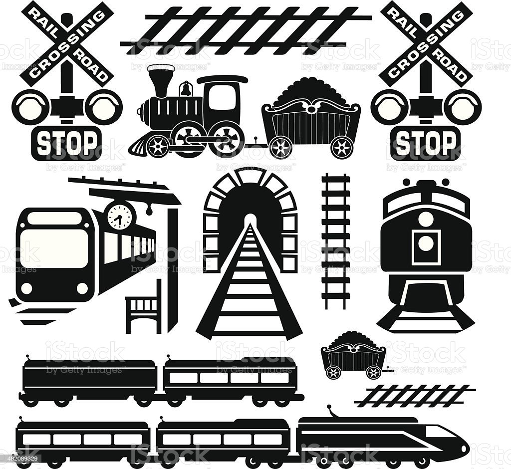train design elements vector art illustration