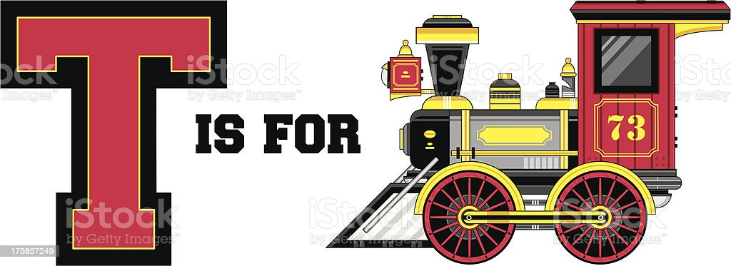 Train Engine Learning Letter T royalty-free stock vector art