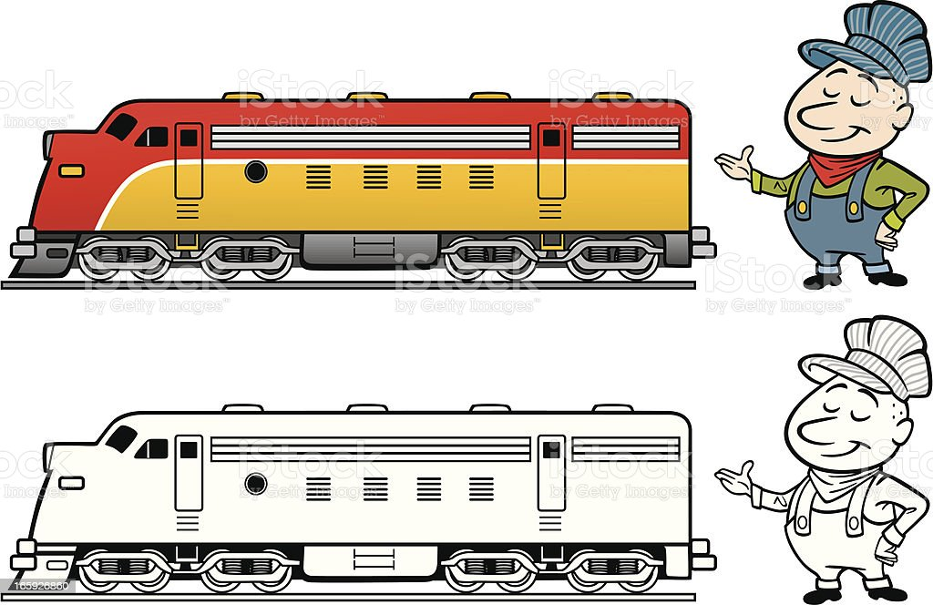 Train Engineer With Diesel vector art illustration