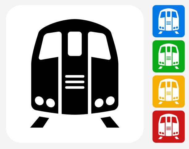 illustrazioni stock, clip art, cartoni animati e icone di tendenza di treno icona piatto di design grafico - subway