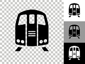 Train Icon on Checkerboard Transparent Background. This 100% royalty free vector illustration is featuring the icon on a checkerboard pattern transparent background. There are 3 additional color variations on the right..