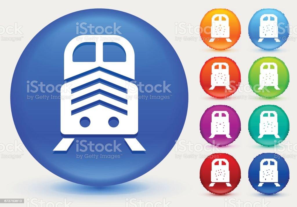 Icône de train sur le cercle de couleur brillante boutons icône de train sur le cercle de couleur brillante boutons – cliparts vectoriels et plus d'images de bleu marine libre de droits