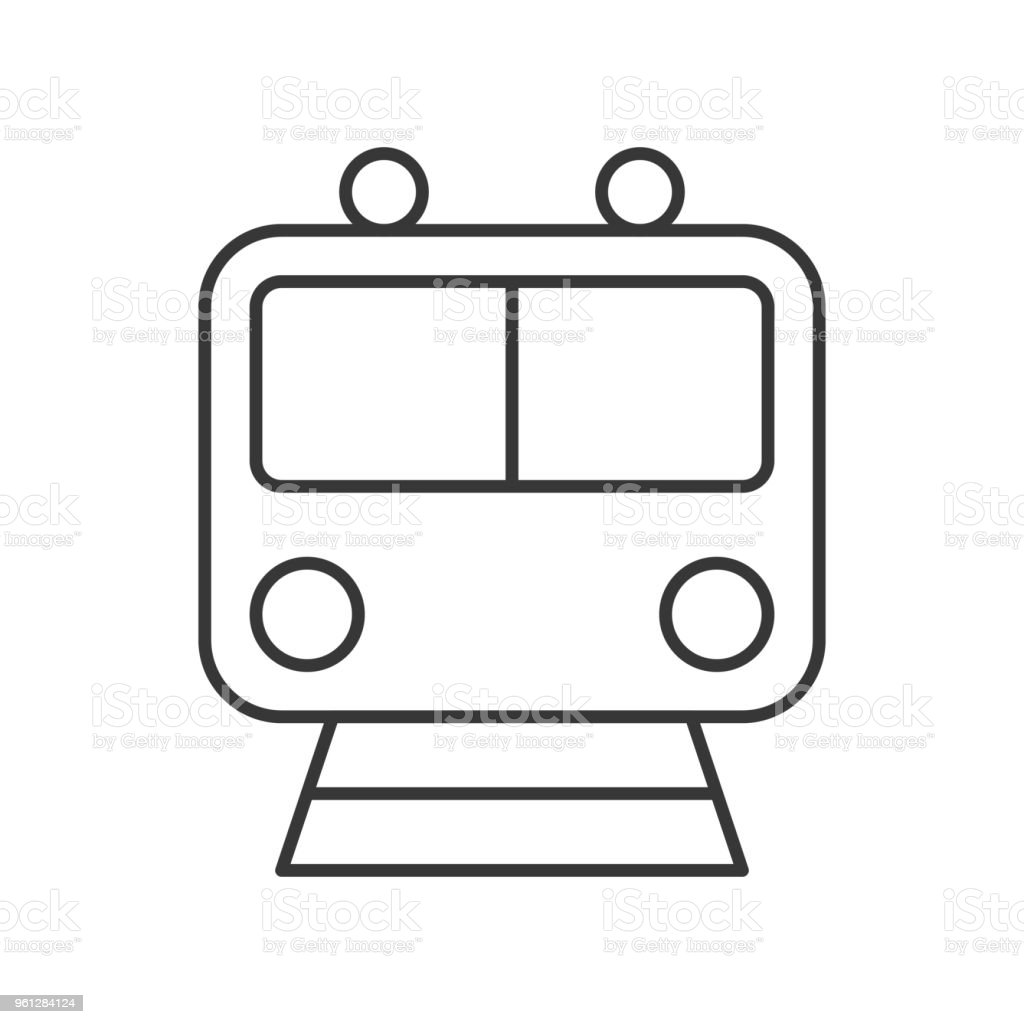 Train Icon Sign Front View Outline Design Stock Illustration