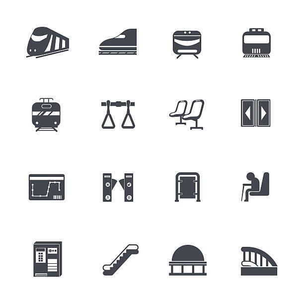 illustrazioni stock, clip art, cartoni animati e icone di tendenza di treno icone di - subway