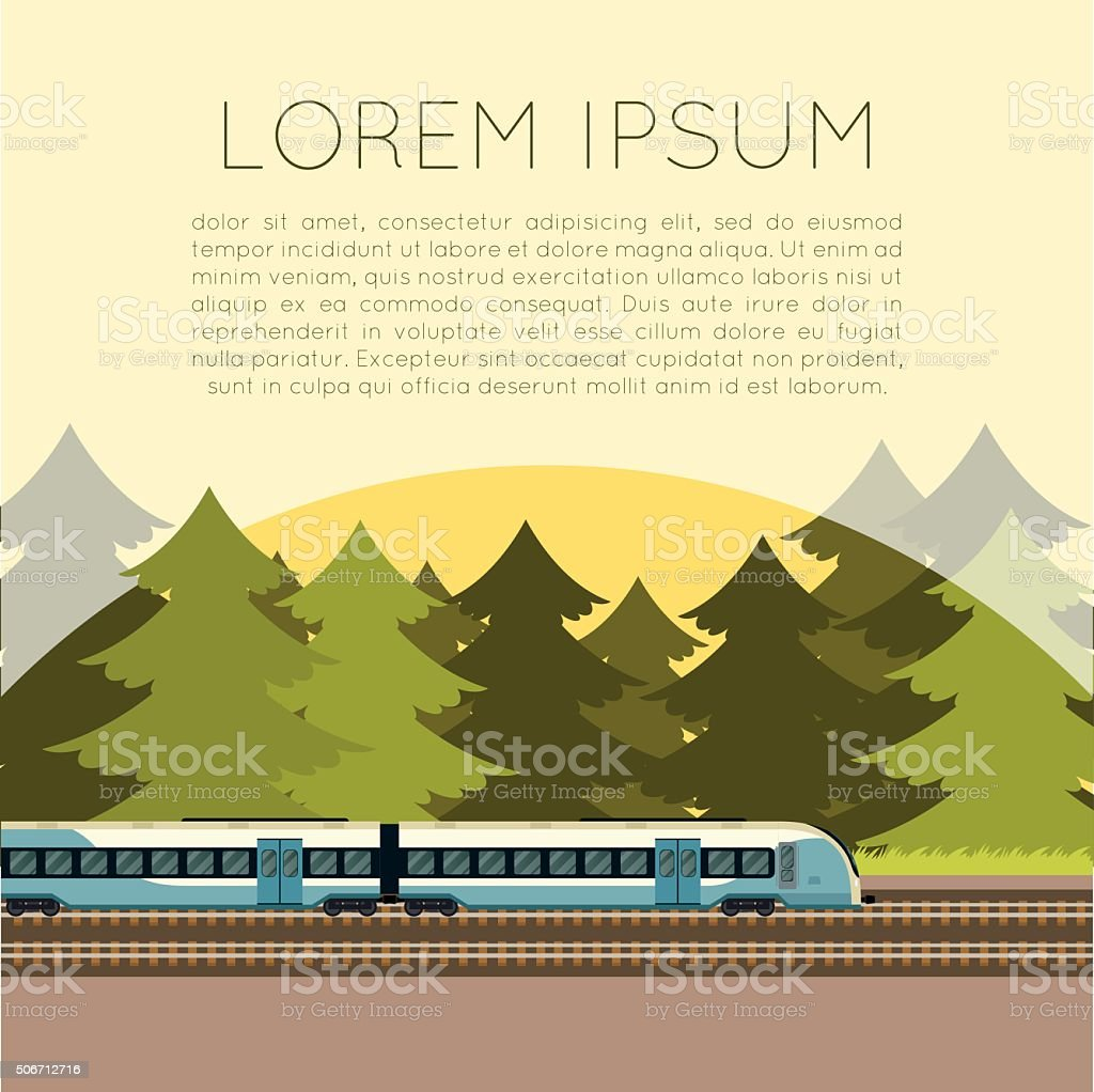 Train in the forest banner vector art illustration