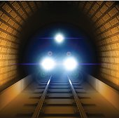 Vector illustration of a train in the tunnel. Vector Illustration EPS10 transparency effects.
