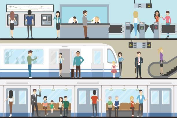 電車内部のセット。 - 通勤点のイラスト素材/クリップアート素材/マンガ素材/アイコン素材