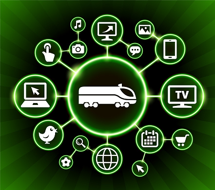 Train Internet Communication Technology Dark Buttons Background