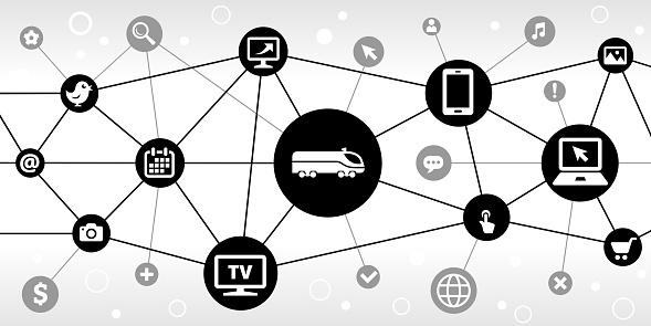 Train Internet Communication Technology Triangular Node Pattern Background