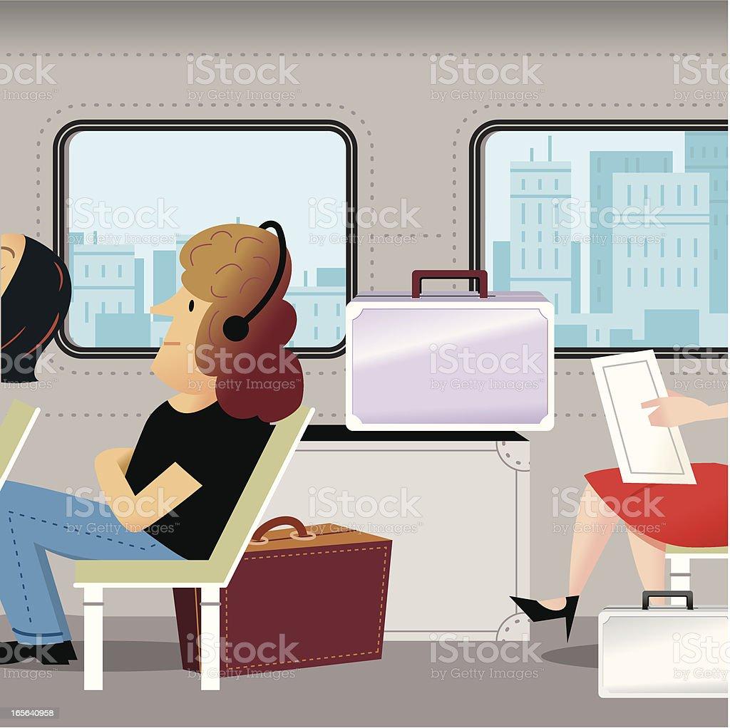 Train Journey vector art illustration