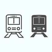 Train line and solid icon. Railway illustration isolated on white. Subway outline style design, designed for web and app. Eps 10