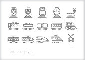 Set of 15 gray line icons of types of trains including engine, caboose, railroad crossing, locomotive, freight train, liquid tanker train, passenger train, electric lightrail, high speed train and commuter train