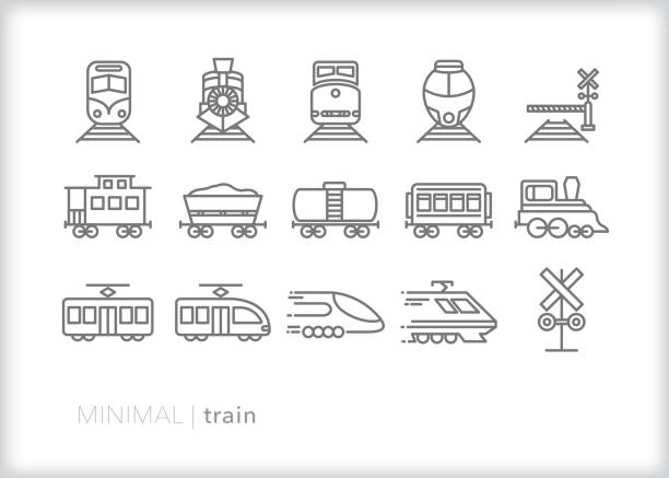 Train line icons of commuter, freight, steam and electric trains for transport, hauling and moving passengers Set of 15 gray line icons of types of trains including engine, caboose, railroad crossing, locomotive, freight train, liquid tanker train, passenger train, electric lightrail, high speed train and commuter train bullet train stock illustrations