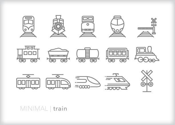 illustrations, cliparts, dessins animés et icônes de icônes de ligne de train des trains de banlieue, de fret, de vapeur et électriques pour le transport, transportant et déplaçant des passagers - voie ferrée