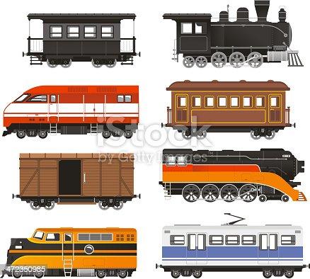 Train Locomotive Transportation Railway Transport vector illustration.