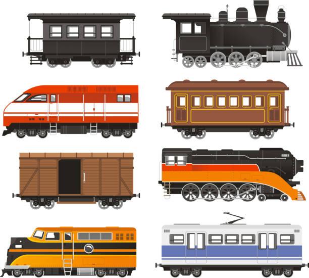 Treno locomotiva trasporto su rotaia - illustrazione arte vettoriale